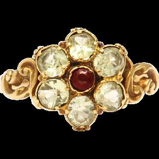 Regency Chyrsolite and Garnet Flower Ring