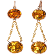 Georgian Fiery Citrine Paste Earrings
