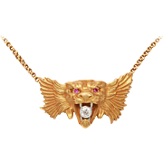 Art Nouveau Gold and Diamond Lion Necklace and Brooch