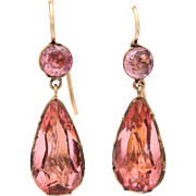 Georgian Pink Paste Earrings in 15kt Gold