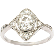 Edwardian Diamond in a Diamond Platinum Ring