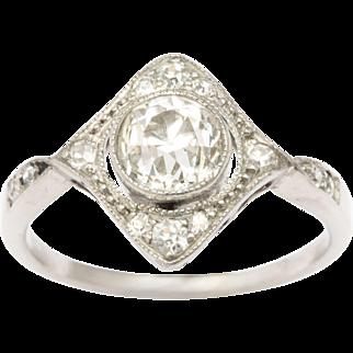 Edwardian Diamond in a Diamond Platinum Ring