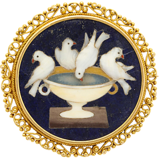 Masterful Victorian Pietra Dura Brooch of Finest Quality