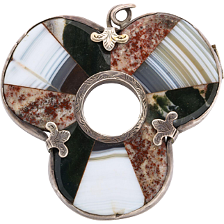 Antique Scottish Shamrock Brooch, Sterling Silver and Agate