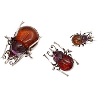 Silver and Crystal Beetle Brooches:  It Takes A Village