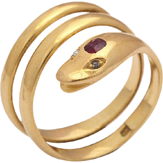Smiling Serpent Ring with Diamond Eyes and Ruby Forehead