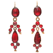 French Gold with Perpignan Garnet Earrings c. 1830