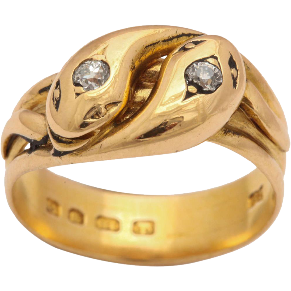 Double Headed Victorian Snake Ring With Diamond Eyes From