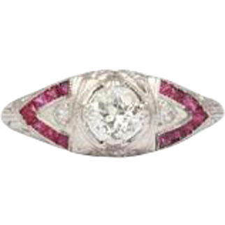 Art Deco Natural Ruby and Diamond Ring