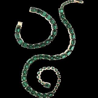 Vintage Emerald Austrian Crystal Vermeil Necklace and Bracelet