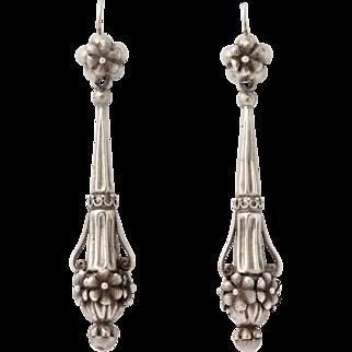 Rare Silver Chandelier Earrings, Georgian