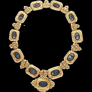 15 KT  Hardstone Intaglios Necklace  c.1860 Eleven Mythological Figures
