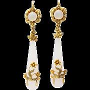 Georgian Wrapped Chalcedony Chandelier Earrings