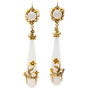 Georgian Wrapped Chalcedony Chandelier Earrings