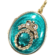 Russian Egg Diamond and Vermeil Enamel Pendant