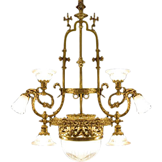 Victorian style brass and glass chandlier