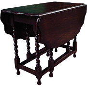 Antique English Oak Drop Leaf & Gate - Leg Table