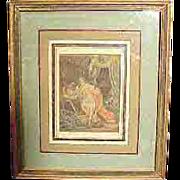 Antique Erotica Hand Colored Book Plate