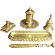 Regal Gilt Bronze Jeweled 5 Pc. Desk Set