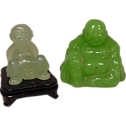 2 Peking Glass Seated Figures
