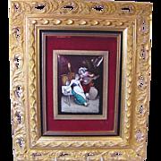 Superb Antique Enamel Plaque Musician & Lady