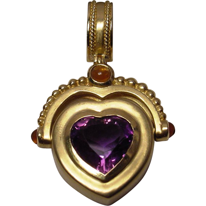 18k Sapphire Amp Heart Shaped Amethyst Pendant Beverly