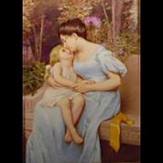 Antique German Painting On Porcelain Plaque Beautiful