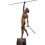 Antique Art Deco Bronze Nude Diana Signed Thermann