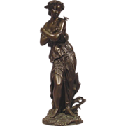 Antique French Bronze Lady & Butterfly Signed Machault