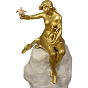 Gilt Bronze & Alabaster Nude Lorallie By The Sea Angles