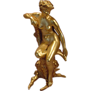 Antique Vienna Gilt Bronze Seated Nude Lady Bergman