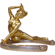 Gilt Bronze Nude Lady On Horseshoe Signed Recipon
