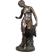 Antique Bronze Nude Lady Sculpture Signed Werner