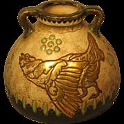 Unusual Amphora Pottery Handled Vase With Bird