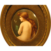 Beautiful Antique Nude Lady Painting Porcelain Plaque