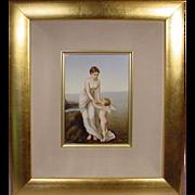 Beautiful Antique Painting On Porcelain Cherub Lady Sea