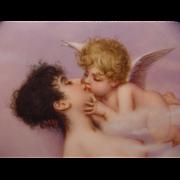 Antique Painted Porcelain Plaque Nude Lady With Cherub