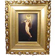 Antique Nude Lady Night Painting On Porcelain Plaque
