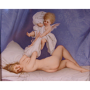 Antique Painted Porcelain Plaque Nude & Cherub