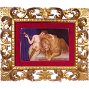 Beautiful Painted Porcelain Plaque Nude & Lion Signed