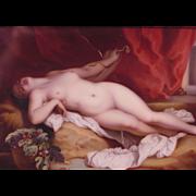 Antique Painted Porcelain Plaque Nude Cleopatra & Snake