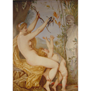 Antique Painting on Porcelain Plaque Nude With Cupid