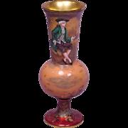 Beautiful Antique French Enamel Vase Signed Vile
