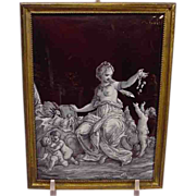 Antique French Enamel Nude With Children Signed A.Loire