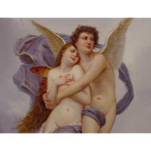 Psyche Love Porcelain Plaque After W.A. Bouguereau