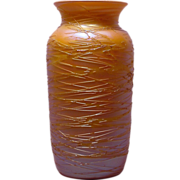 Gold Threaded Signed Durand Iridescent Art Glass Vase