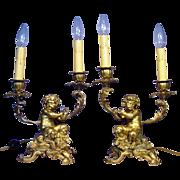 Superb Pair Gilt Bronze Baby Satyr Candelabras