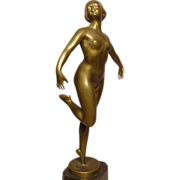 Exquisite Nude Bronze Dancer Prof Poertzel
