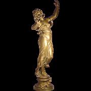 """Antique Bronze Lady Muse des bois E. Marioton 32"""""""