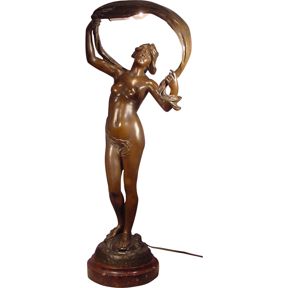 Antique Female Nude Bronze Sculptured Lamp J Cambos From